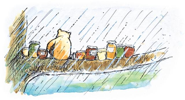 画像: 「枝には、ハチミツのつぼが10ならんでいて、そのまんなかに、プーが…」、『クマのプーさん』第9章、E.H.シェパード、ラインブロックプリント・手彩色、1970年 英国エグモント社所蔵 © E.H. Shepard colouring 1970 and 1973 © Ernest H. Shepard and Egmont UK Limited