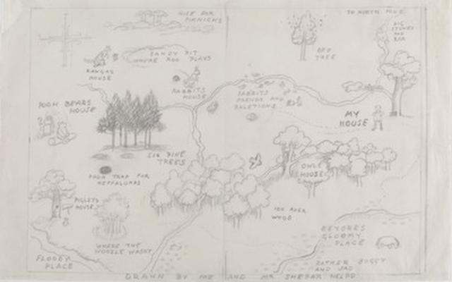画像: 百町森の地図、『クマのプーさん』見返し用のスケッチ、E.H.シェパード、鉛筆画、 1926年、 V&A所蔵 © The Shepard Trust. Image courtesy of the Victoria and Albert Museum, London