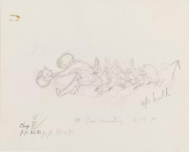 画像: 「プーを穴からひっぱり出す」、『クマのプーさん』第2章、E.H.シェパード、鉛筆画、1926年、 V&A所蔵 © The Shepard Trust. Image courtesy of the Victoria and Albert Museum, London
