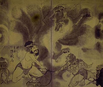 画像: 《九尾の狐図屏風》 明治3(1870)年以前 河鍋暁斎記念美術館 *通期展示