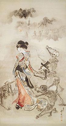 画像: 《美女の袖を引く骸骨たち》明治時代  ビーティヒハイム・ビッシンゲン市立博物館 *通期展示