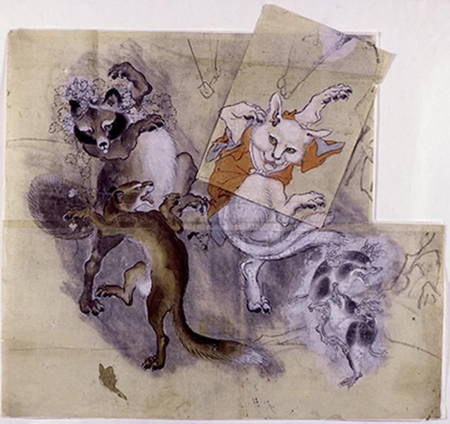 画像: 《鳥獣戯画 猫又と狸 下絵》制作年不詳 河鍋暁斎記念美術館 *前期展示