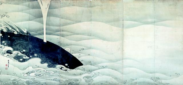 画像: 《象と鯨図屏風 左隻》紙本墨画 寛政7年(1795)〈寛政9年(1977)〉MIHO MUSEUM【後期展示】