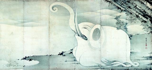 画像: 《象と鯨図屏風 右隻》紙本墨画 寛政7年(1795)〈寛政9年(1977)〉MIHO MUSEUM 【後期展示】