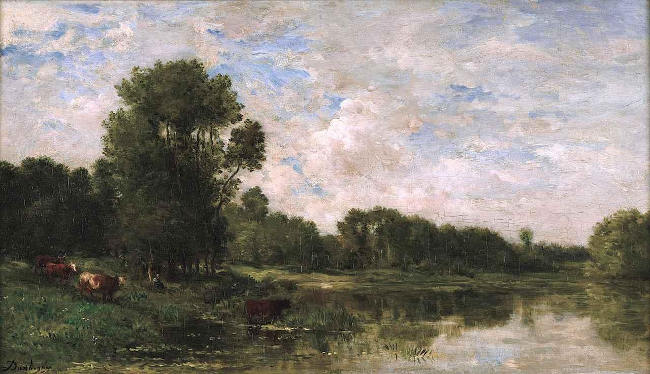 画像: シャルル=フランソワ・ドービニー《オワーズ河畔》 1865年頃 油彩/板 32.2×56.8cm ランス美術館 ©Christian Devleeschauwer