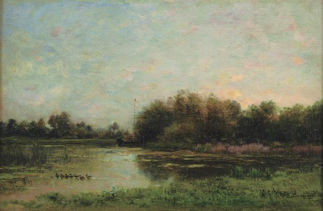 画像: シャルル=フランソワ・ドービニー《オワーズ河畔》 1860年 油彩/板 21.3×33cm ランス美術館 ©Christian Devleeschauwer