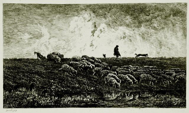 画像: シャルル=フランソワ・ドービニー《にわか雨》 1851年 エッチング 13.6×23.4cm オーヴェール=シュル=オワーズ、ドービニー美術館 ©Christian Devleeschauwer