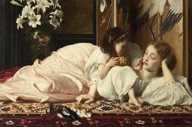画像: フレデリック・レイトン《母と子(サクランボ)》1864-65年頃、油彩/カンヴァス、48.2×82 cm、 ブラックバーン美術館 ©Blackburn Museum and Art Gallery