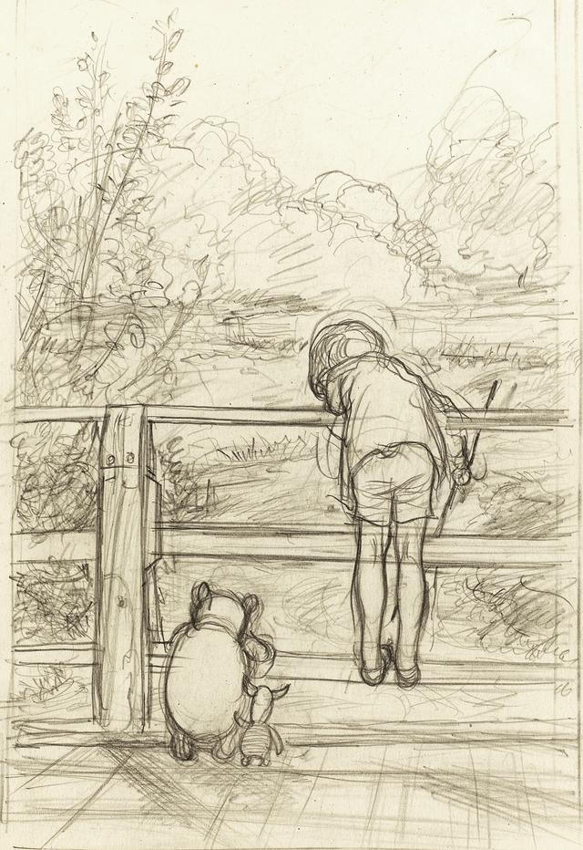 画像: 「ながいあいだ、三人はだまって、下を流れてゆく川をながめていました」、 『プー横丁にたった家』第6章、E.H.シェパード、鉛筆画、1928年、 ジェームス・デュボース・コレクション © The Shepard Trust