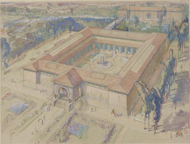 画像: フランク・ブラングィン《共楽美術館構想俯瞰図、東京》 水彩・鉛筆、紙 国立西洋美術館