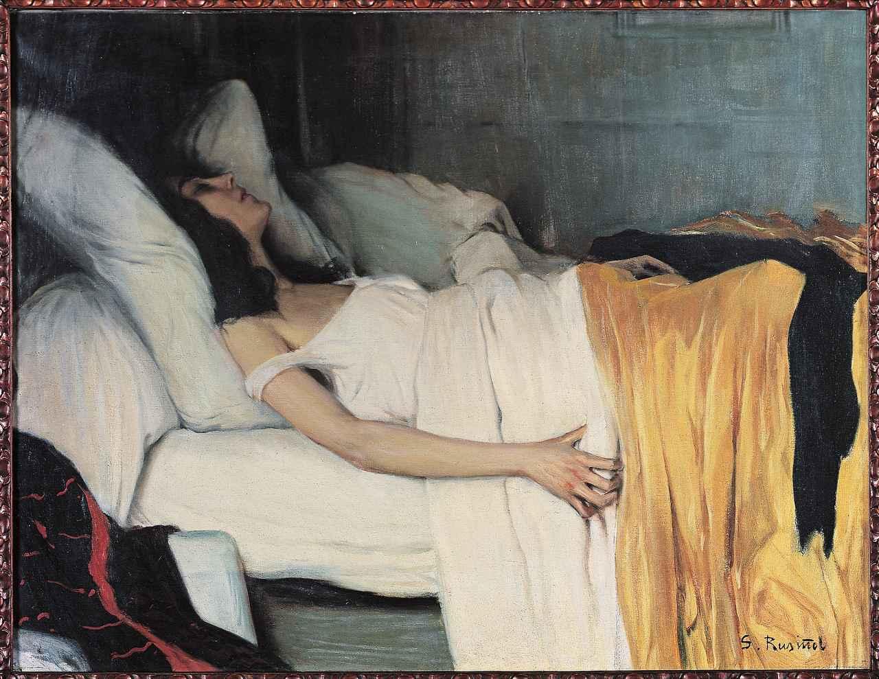 画像: サンティアゴ・ルシニョル《モルヒネ中毒の女》 1894年 油彩・カンヴァス カウ・ファラット美術館 © photography archive of the Cau Rerrat Museum