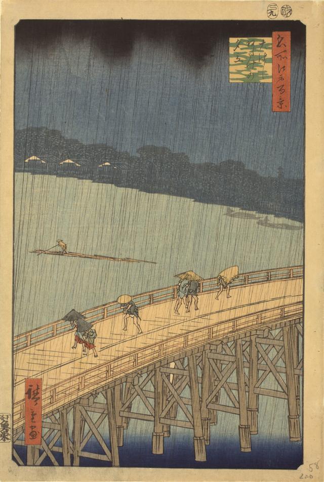 画像: 歌川広重「名所江戸百景 大はしあたけの夕立」 安政4年(1857)