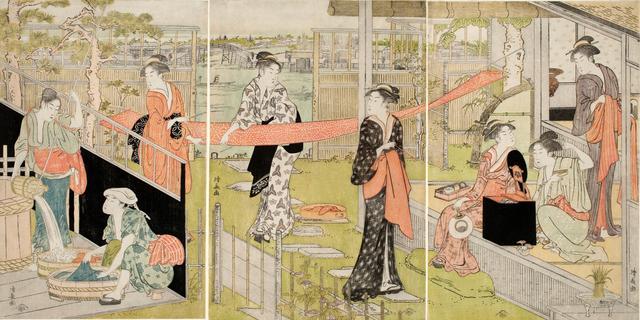 画像: 鳥居清長「洗濯と張り物」 天明(1781–89)後期
