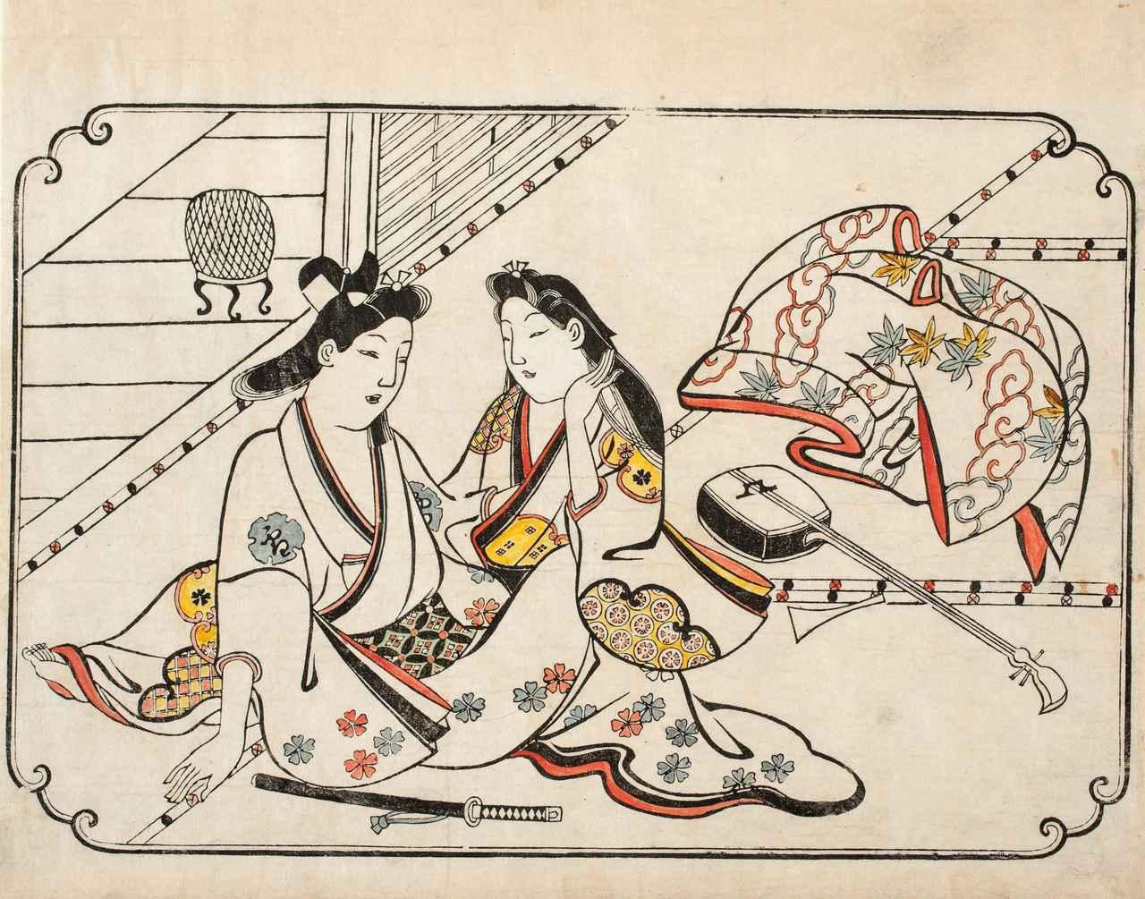 画像: 菱川師宣「低唱の後」 延宝(1673-81)後期