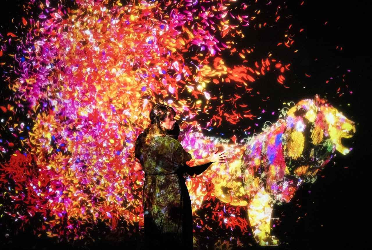 画像: 花と共に生きる動物達 /Animals of Flowers, Symbiotic Lives teamLab, 2017, Interactive Digital Installation, Sound: Hideaki Takahashi