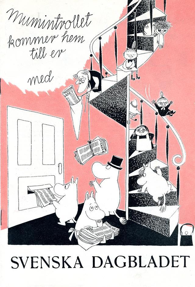 画像: トーベ・ヤンソン 《スウェーデンの日刊紙「スヴェンスカ・ダーグブラーデット」広告》 1957 年 印刷 ムーミンキャラクターズ社 ©Moomin Characters™