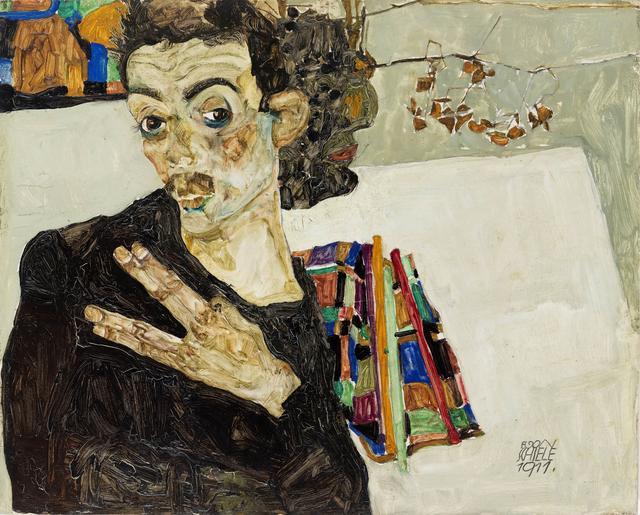 画像: エゴン・シーレ《自画像》1911年 油彩/板 27.5×34 cm ウィーン・ミュージアム蔵 ©Wien Museum / Foto Peter Kainz
