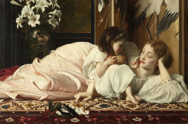 画像: フレデリック・レイトン《母と子(サクランボ)》1864-65年頃、ブラックバーン美術館 © Blackburn Museum and Art Gallery