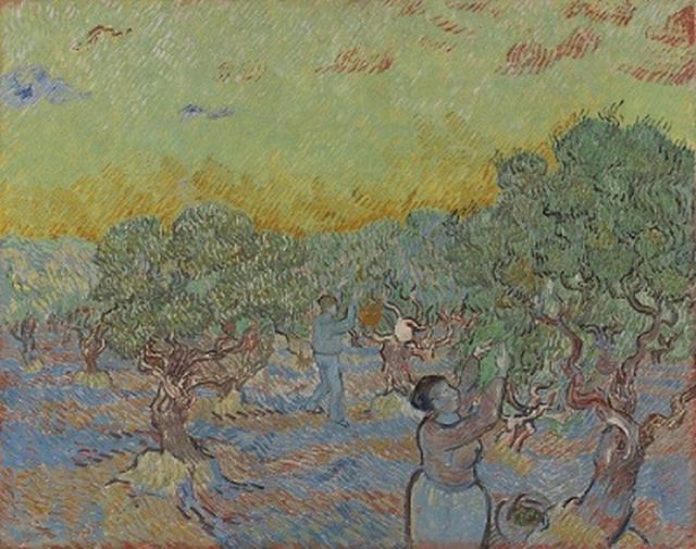 画像: フィンセント・ファン・ゴッホ 《オリーヴを摘む人々》 1889年12月 油彩、カンヴァス 73.3×92.2cm クレラー=ミュラー美術館 © Collection Kröller-Müller Museum, Otterlo, The Netherlands