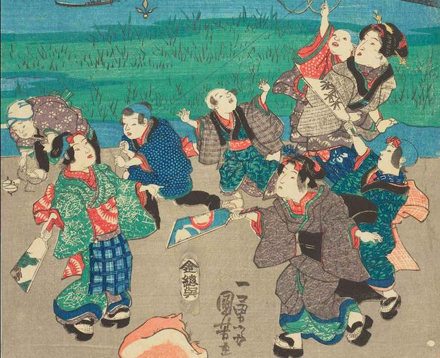 画像: 江戸勝景 中洲より三つまた永代ばしをみる図 部分(右端の一枚の下部) 個人蔵