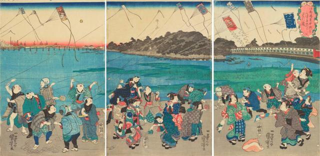 画像: 江戸勝景 中洲より三つまた永代ばしをみる図 天保13-14(1842-43)年頃 個人蔵