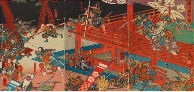 画像: 堀川夜討ノ図 嘉永4(1851)年 太田記念美術館蔵