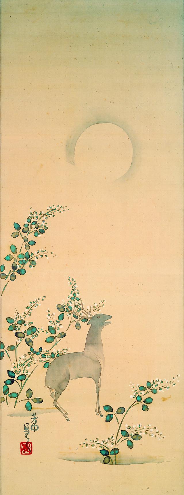 画像: 中村芳中 〈月に萩鹿図〉 細見美術館蔵