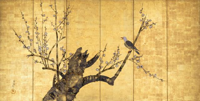 画像: 中村芳中〈白梅小禽図屛風〉細見美術館蔵