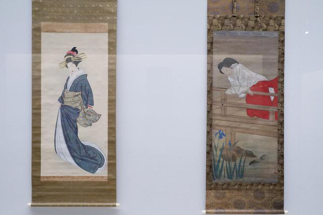 画像: 応挙の弟子の中でも特に人物画、美人画で才能を発揮した山口素絢の二点