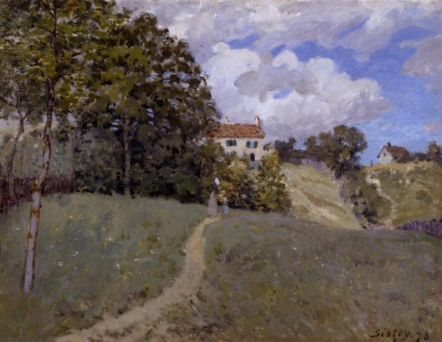 画像: アルフレッド・シスレー《家のある風景》1873年 Musée d'Art Moderne et Contemporain de Strasbourg, Photo Musées de Strasbourg.