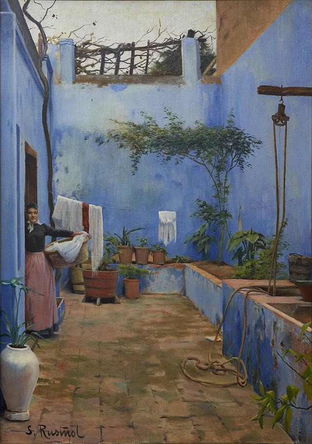 画像: サンティアゴ・ルシニョル《青い中庭》1892年頃 ムンサラット美術館