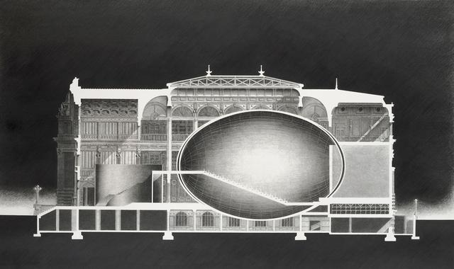 画像: 安藤忠雄《中之島プロジェクトⅡ―アーバンエッグ(計画案)公会堂、断面図》1988 年 ギャラリー ときの忘れもの蔵