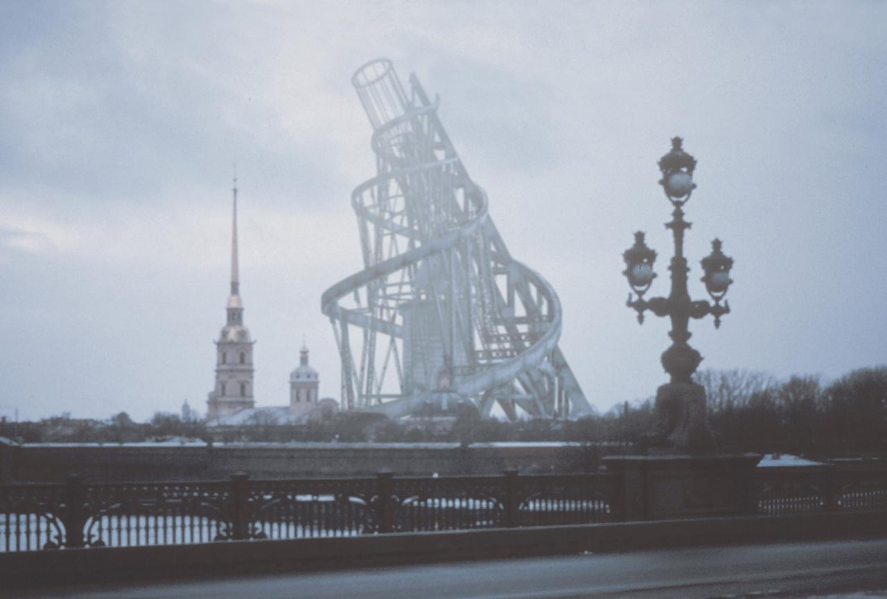 画像: 映像制作:長倉威彦《ウラジーミル・タトリン、第3 インターナショナル記念塔》CG 映像 1998 年