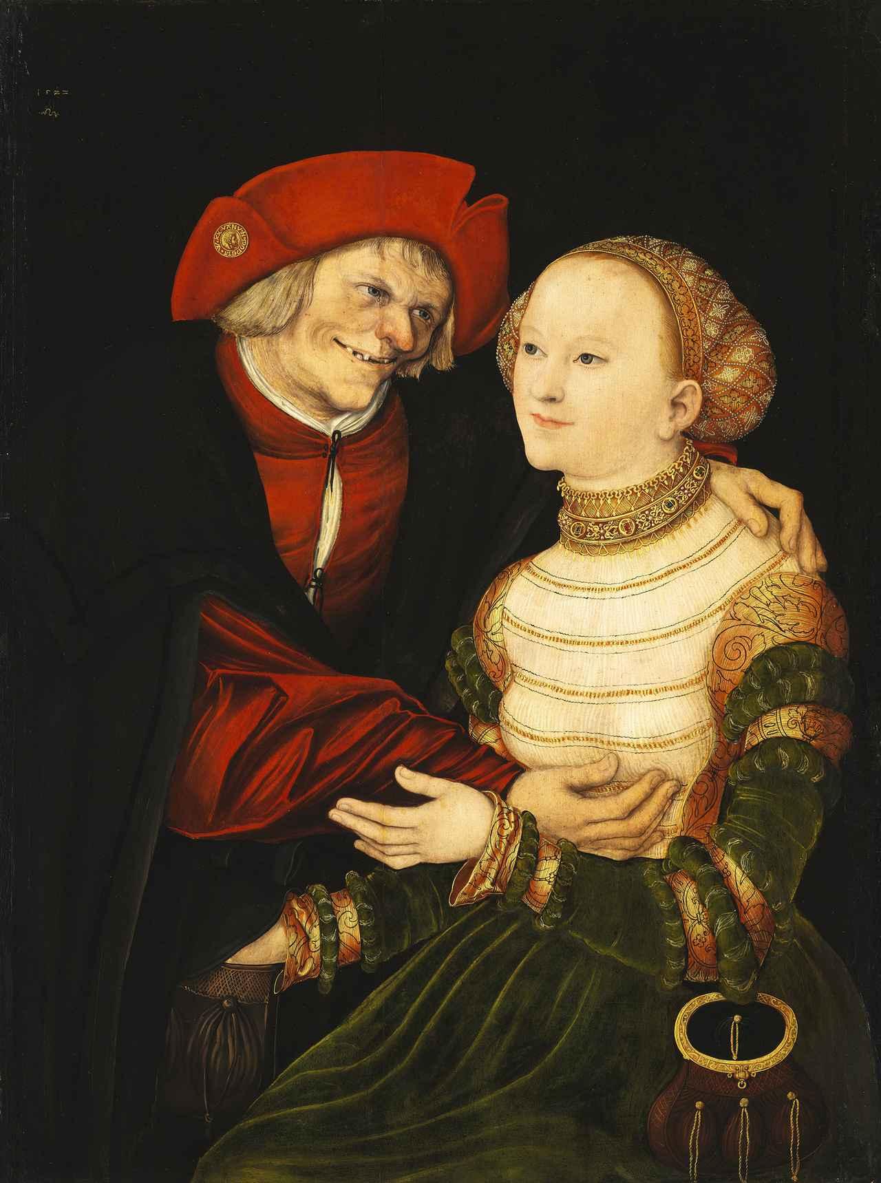 画像: ルカス・クラーナハ(父) 《不釣り合いなカップル 老人と若い女》 1522 年 油彩/板(ブナ) ブダペスト国立西洋美術館 © Museum of Fine Arts,Budapest – Hungarian National Gallery, 2019