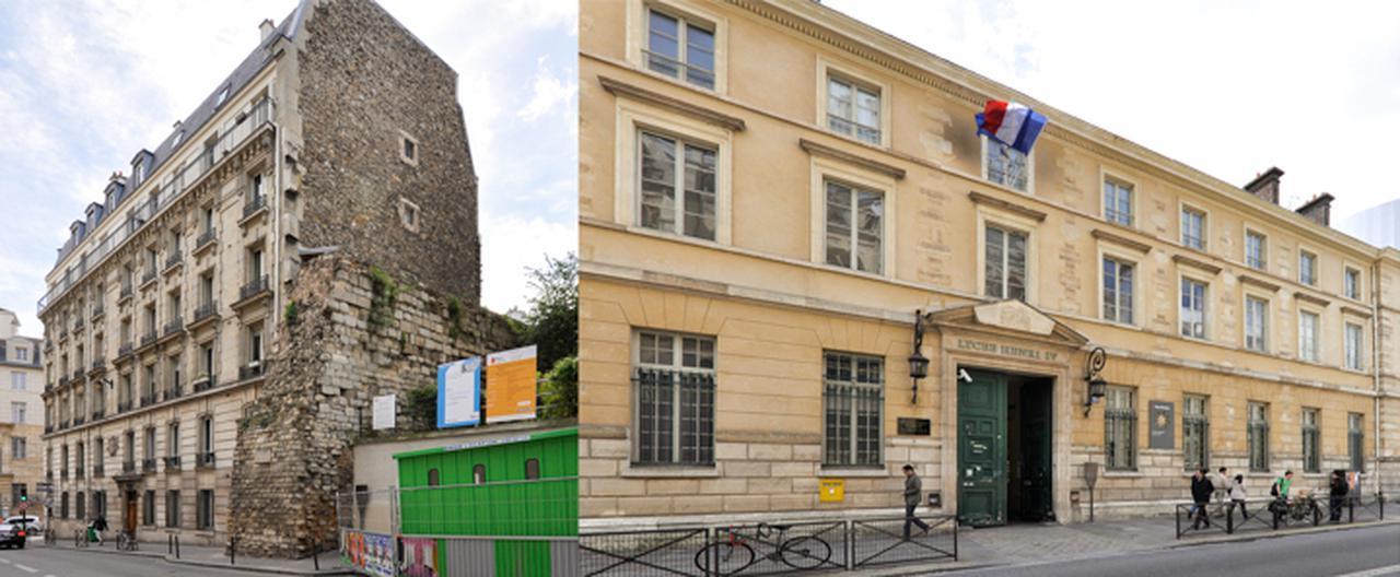 画像: 左がフィリップ・オーギュストの壁、右がアンリ4世校。ともに、パンテオン裏手のクロヴィス通りにある。隣の建物の側面と不思議とマッチした崩れかけの壁のほうは、はじめて自ら「フランス王」と名乗ったフィリップ・オーギュストが十字軍遠征に出る際に建設が始められたもの。左岸では13世紀初頭に築かれた。アンリ4世校はルイ=ル=グラン校と並ぶ名門リセ。ミア・ハンセン=ラヴ『未来よ こんにちは』(2016)では、このリセで哲学の教師をつとめるハインツ(アンドレ・マルコン)が緑の扉から出てくるシーンが見られる。