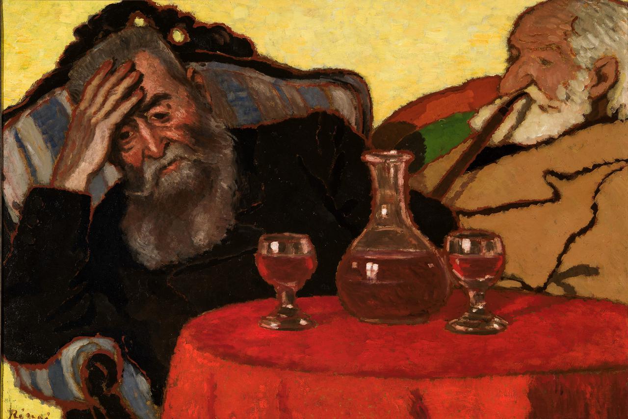 画像: リップル=ローナイ・ヨージェフ 《赤ワインを飲む私の父とピアチェク伯父さん》 1907 年 油彩/厚紙 ブダペスト、ハンガリー・ナショナル・ギャラリー  © Museum of Fine Arts,Budapest – Hungarian National Gallery, 2019
