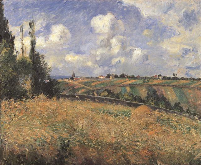 画像: カミーユ・ピサロ《ライ麦畑、グラット=コックの丘、ポントワーズ》1877年 油彩・カンヴァス 60.3×73.7cm 静岡県立美術館