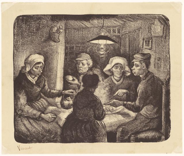 画像: フィンセント・ファン・ゴッホ《ジャガイモを食べる人々》1885 年4-5 月 リトグラフ(インク・紙) 26.4×32.1cm ハーグ美術館 © Kunstmuseum Den Haag