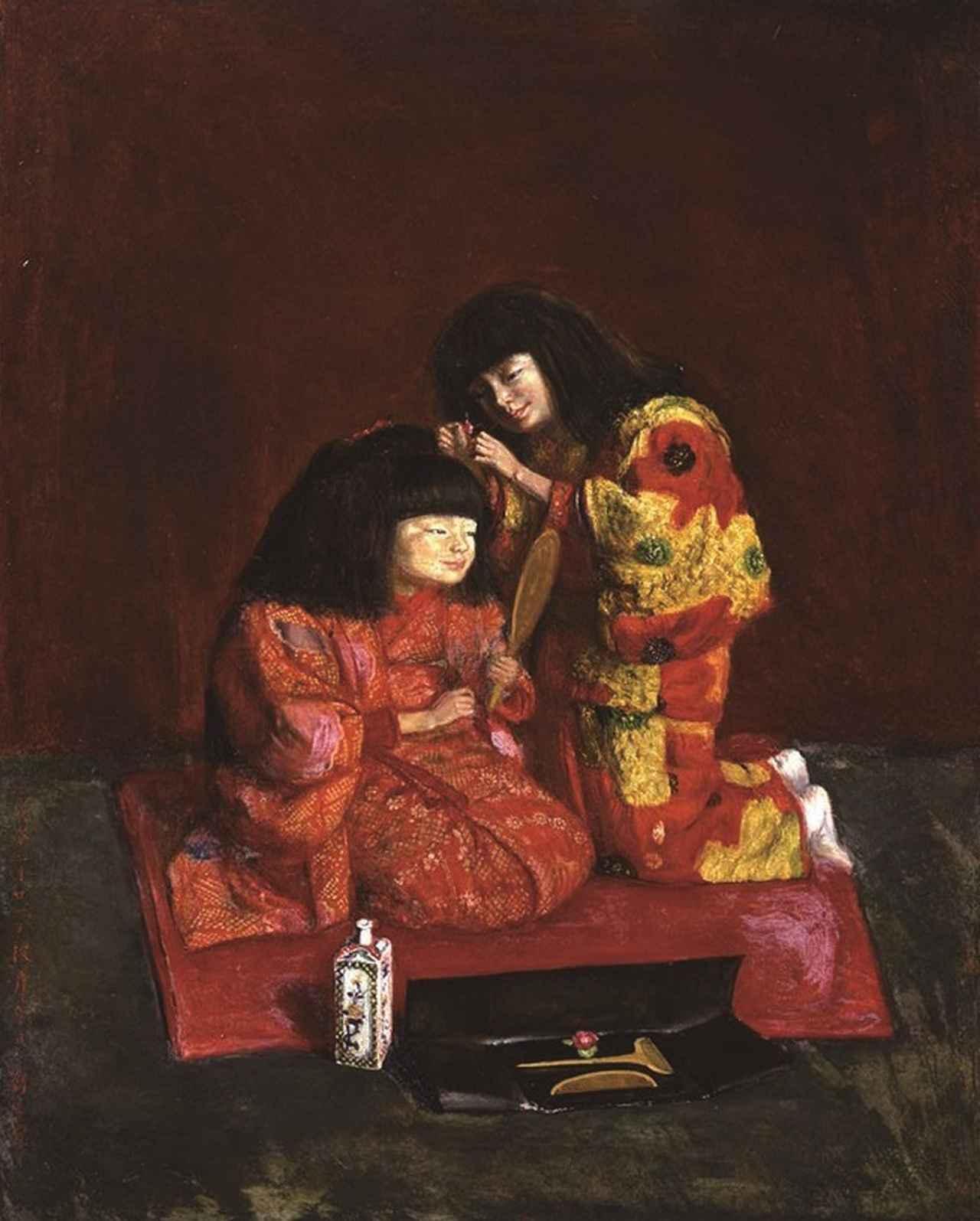 画像: 《二人麗子図(童女飾髪図)》 1922 年 3 月 21 日 油彩/麻布 100.3×80.3cm 泉屋博古館分館