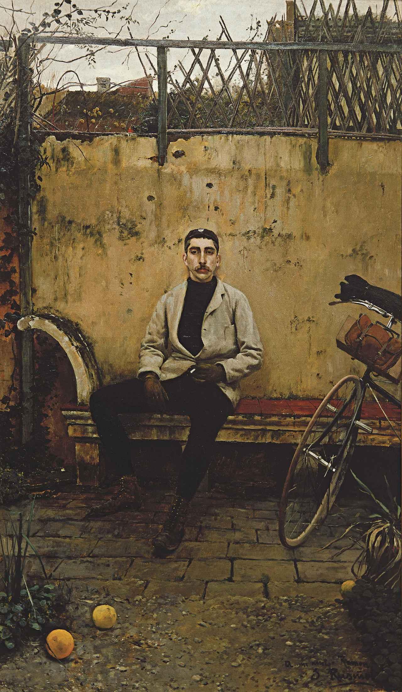 画像: サンティアゴ・ルシニョル《自転車乗りラモン・カザス》1889年、サバデイ銀行 ©Banco Sabadell Collection