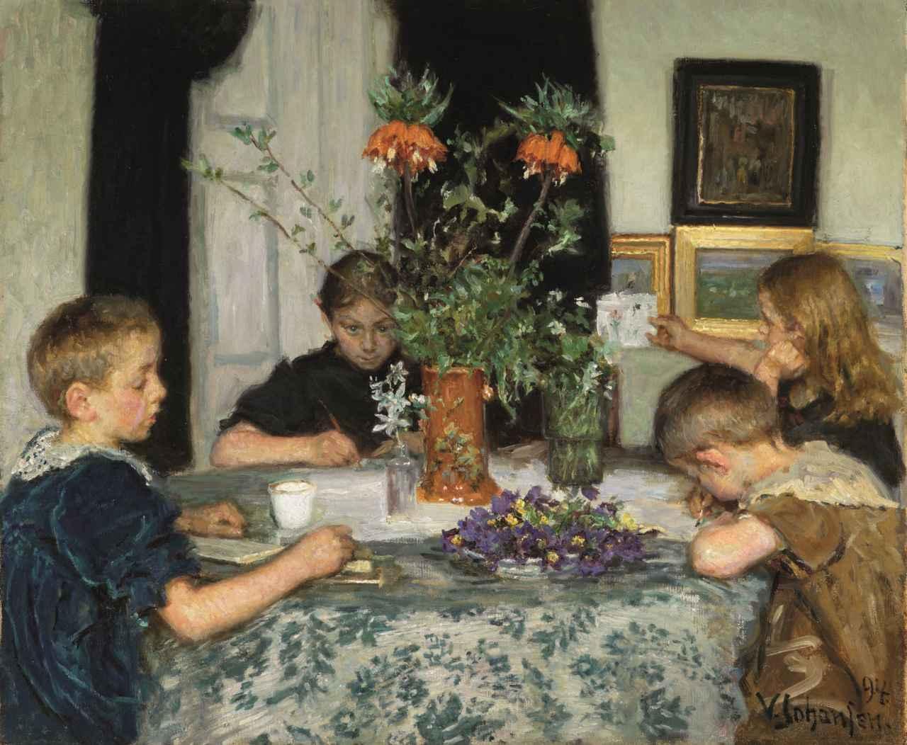 画像: ヴィゴ・ヨハンスン 《春の草花を描く子供たち》 1894年 スケーイン美術館蔵 Art Museums of Skage