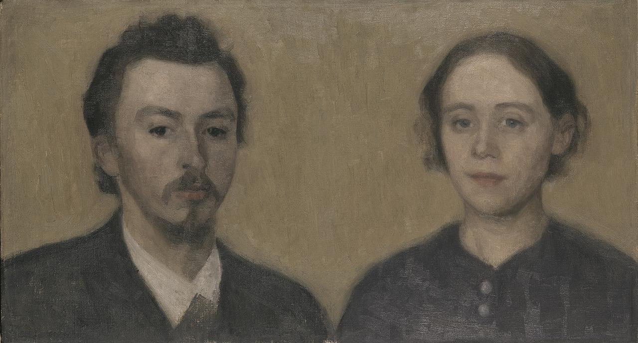 画像: ヴィルヘルム・ハマスホイ 《画家と妻の肖像、パリ》 1892年 デーヴィズ・コレクション蔵 The David Collection, Copenhagen