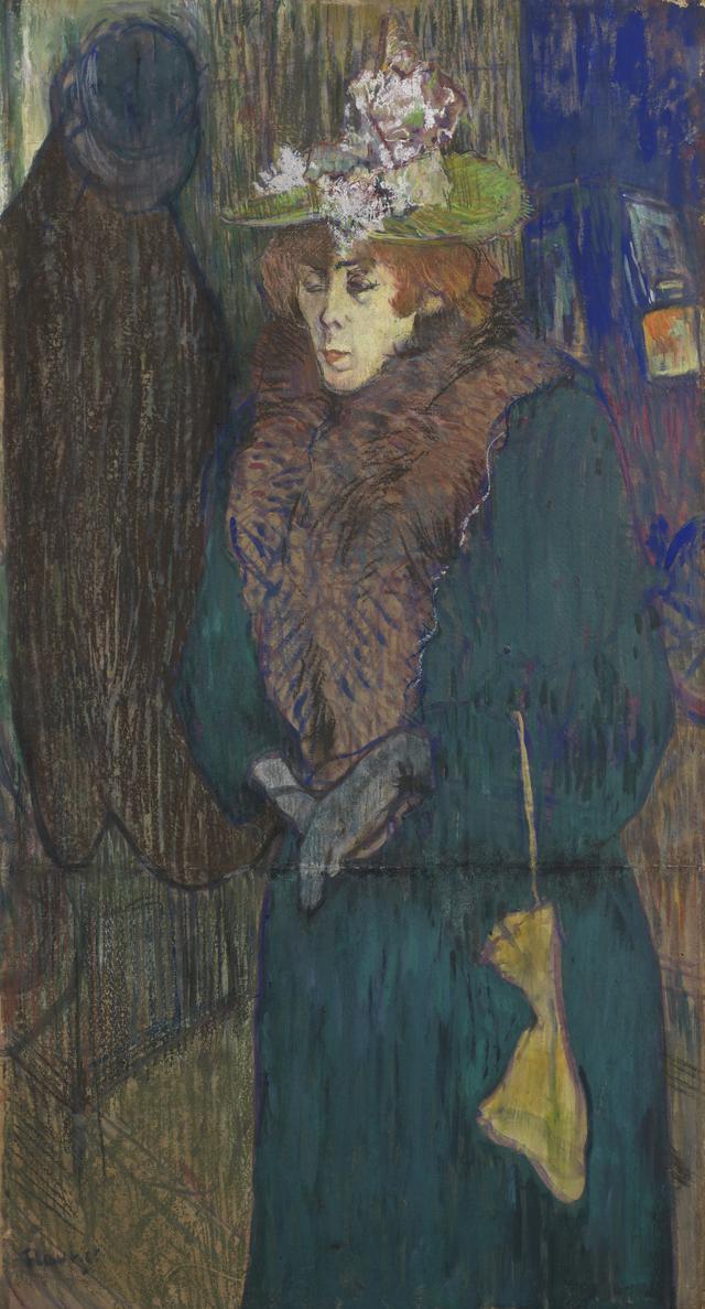 画像: アンリ・ド・トゥールーズ=ロートレック 《ジャヌ・アヴリル、ムーラン・ルージュの入口にて》 1892年頃油彩・パステル、板に貼られた厚紙 コートールド美術館 © Courtauld Gallery (The Samuel Courtauld Trust)