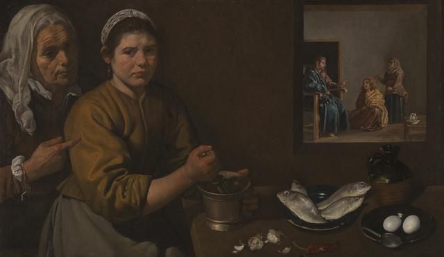 画像: ディエゴ・ベラスケス 《マルタとマリアの家のキリスト》 1618年頃 油彩・カンヴァス 60×103.5cm ©The National Gallery, London. Bequeathed by Sir William H. Gregory, 1892