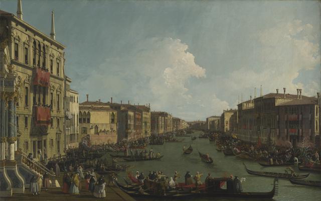 画像: カナレット(本名ジョヴァンニ・アントニオ・カナル) 《ヴェネツィア:大運河のレガッタ》 1735年頃 油彩・カンヴァス 117.2×186.7cm ©The National Gallery, London. Wynn Ellis Bequest, 1876