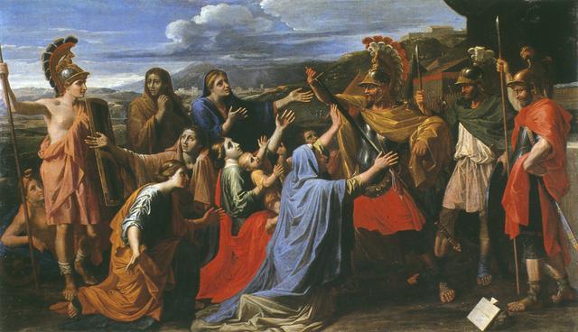 画像: ニコラ・プッサン 《コリオラヌスに哀訴する妻と母》 1652-1653年頃 油彩・カンヴァス、116 × 196 cm レザンドリー、ニコラ・プッサン美術館 © Christophe Deronne