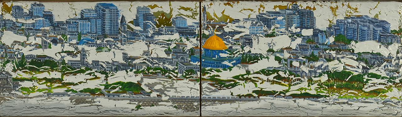 画像: Jerusalem(エルサレム) カシュ-、油彩、パネル(2点組) 19×66.6cm  2018