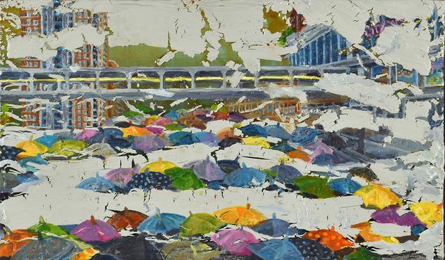 画像: 雨傘と涙(香港) カシュ-、油彩、パネル 14×24cm 2020