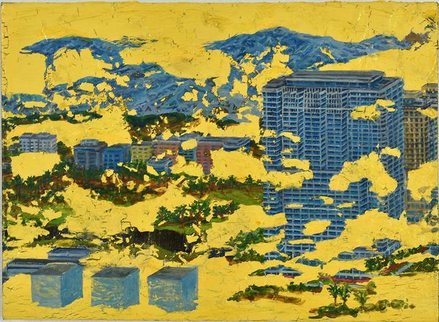 画像: Cube-002(トランプタワー) カシュ-、油彩、綿布、パネル  24.8×33.9cm 2019