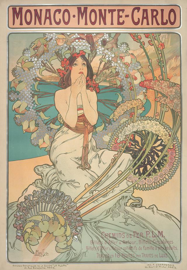 画像: アルフォンス・ミュシャ 《モナコ・モンテカルロ》1897年 カラーリトグラフ ミュシャ財団蔵 ©Mucha Trust 2020